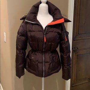 Nylon puffer jacket w detachable hood